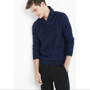 Express Men's Blue Marl Shawl Neck Sweater